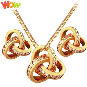 Cubic Zirconia Jewelry Set Luxury  For Women Gold/Silver Color