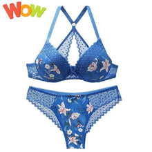 Load image into Gallery viewer, 3/4 cup back closure lace women bra set thong hollow out  underwear  intimante  lingerie