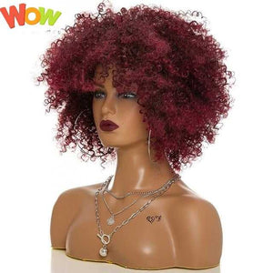 Afro Kinky Curly Wigs for Women High temperature synthetic wigs Medium long hair 15.5 inch