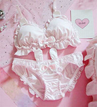 Load image into Gallery viewer, Bow Ruffle White Underwear Set Sexy Female Cute Rabbit Ears Lingerie Women's Bra & Panties
