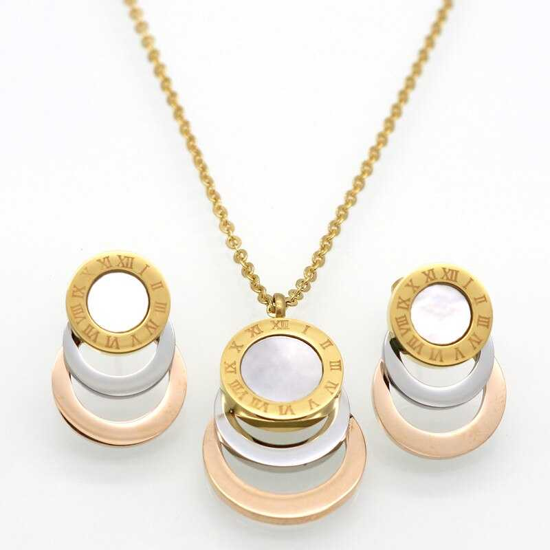 Gold/Rose Gold/Silver Color Stainless Steel Jewelry Sets Brand Women Earrings & Necklace