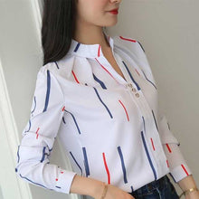 Load image into Gallery viewer, Plus Size Women White Tops and Blouses Fashion Stripe Print