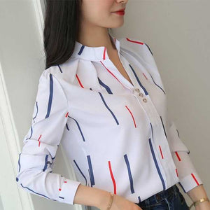 Plus Size Women White Tops and Blouses Fashion Stripe Print