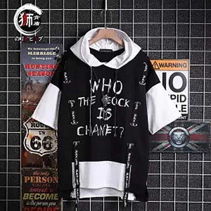 Harajuku Patchwork Hoodies Letters Printed Plus Size S-3XL