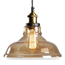 Load image into Gallery viewer, Antique brass brushed smoke gray industrial glass pendant lights retro light fixture ceiling lamp dining light