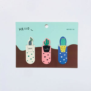 Set Fresh Cactus Sakura Unicorn Magnetic Bookmarks