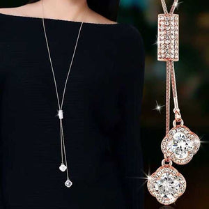 Long Gray Crystal Necklaces & Pendants for Women