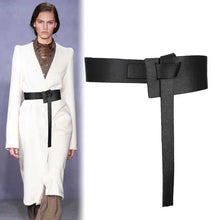 Load image into Gallery viewer, Fashion Women Knotted Waistbands wide long PU leather