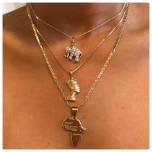 Load image into Gallery viewer, 3 Pcs/Set Vintage Crystal Elephant Pyramid Ancient Egyptian Pharaoh Map Pendant Multilayer