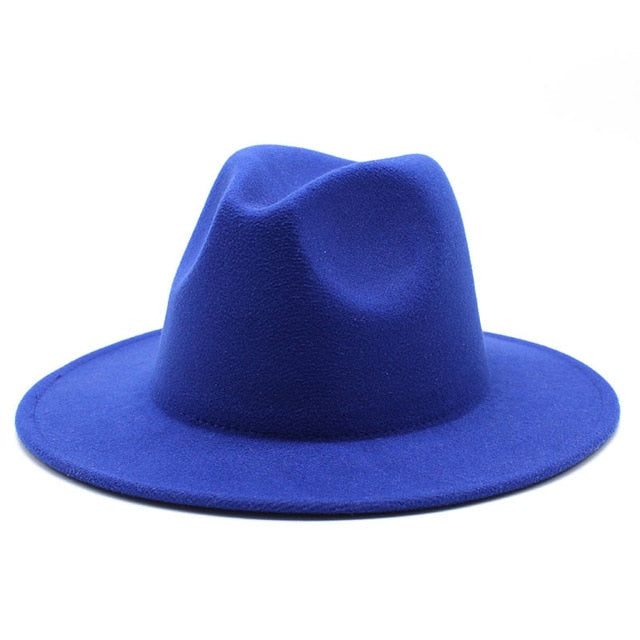 All-match Wide Brim Fedora Hat For Women Men