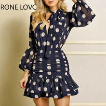 Load image into Gallery viewer, Women Long Sleeves Dot Print Ruffles Mesh Open Back Dress