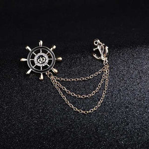 Crystal Brooch Golden Ship's Anchor Rudder Brooches For Mens Suit Badge and Lapel Pin For Men Women Chain