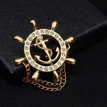 Load image into Gallery viewer, Crystal Brooch Golden Ship's Anchor Rudder Brooches For Mens Suit Badge and Lapel Pin For Men Women Chain