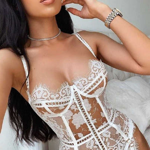 2-piece Embrodiery Lace Lingerie Set Women Hallow Out Patchwork Sexy