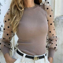 Load image into Gallery viewer, Polka Dot Puff Long Sleeve Blouse Women