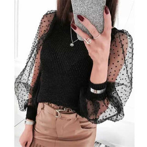Polka Dot Puff Long Sleeve Blouse Women