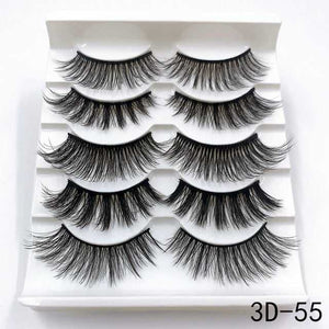 5 Pairs 3D Mink Lashes Handmade Natural False Eyelashes Eyelash Extension
