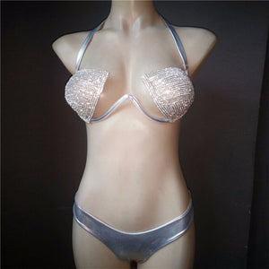 Shiny Rhinestones Bra Brief Set Women Halter Bra Sexy Panty Two Piece