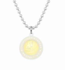 friendship necklace with yellow st christopher charm