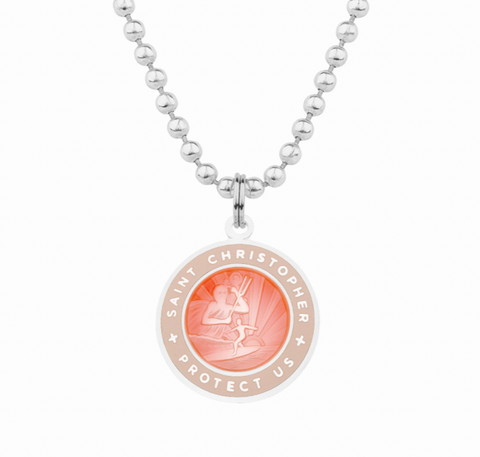 friendship necklace with pink st christopher charm