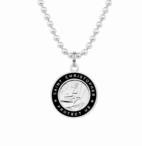 friendship necklace with silver and black st christopher charm