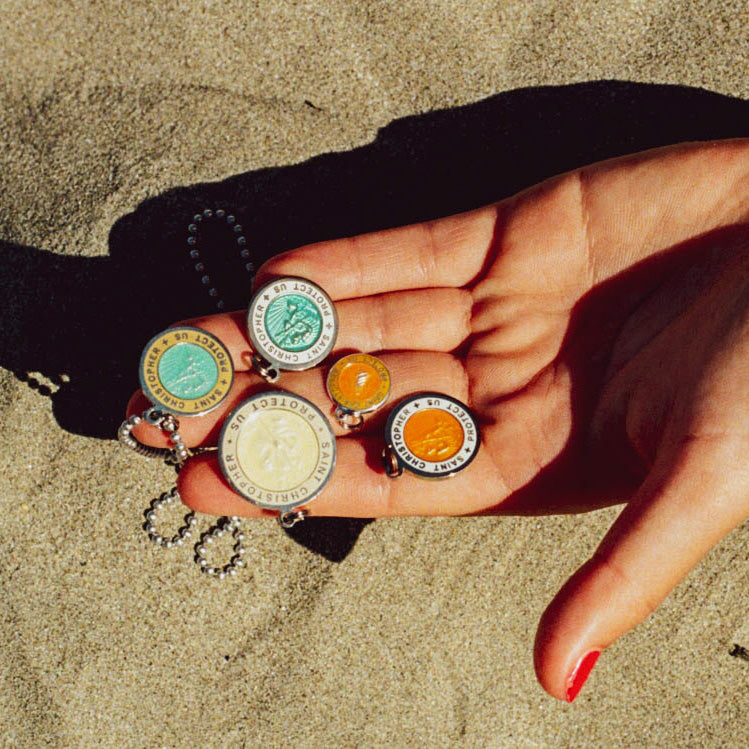 Colorful St. Christopher surf medals beach jewelry