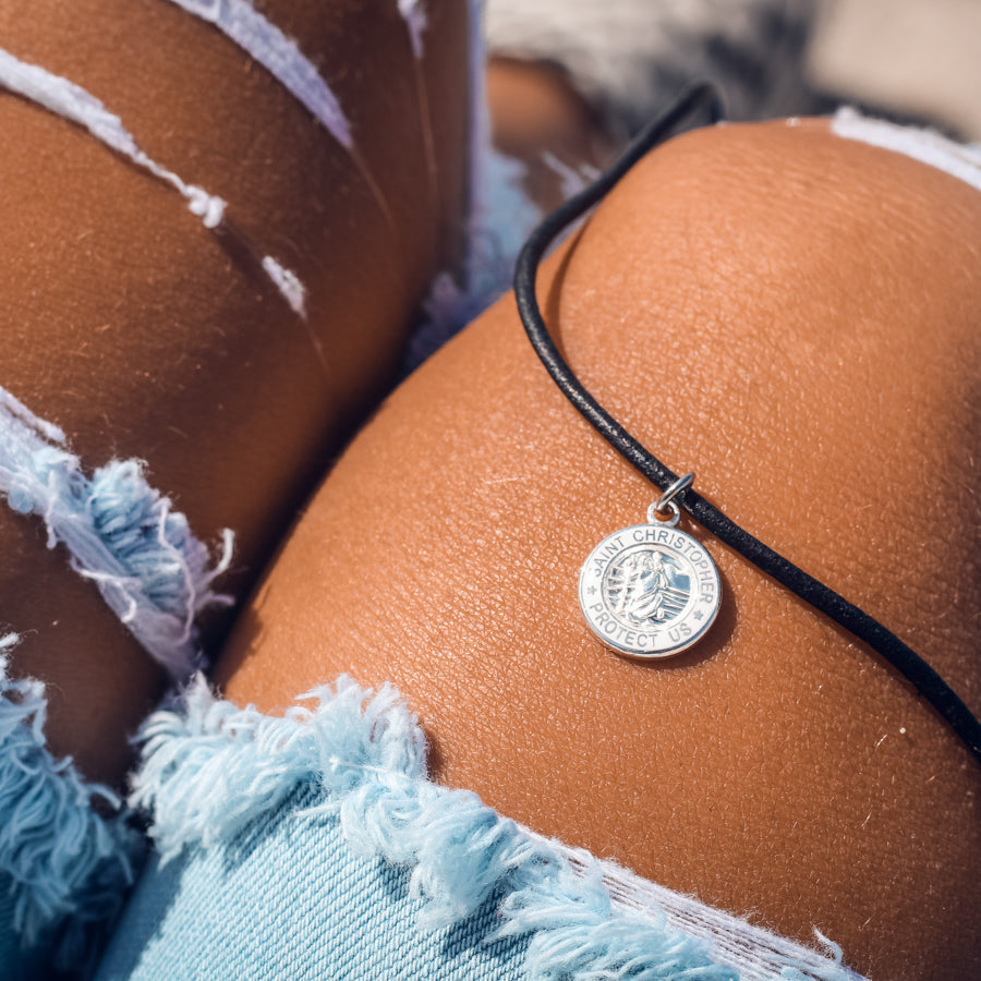 black cord choker with white charm dainty necklace