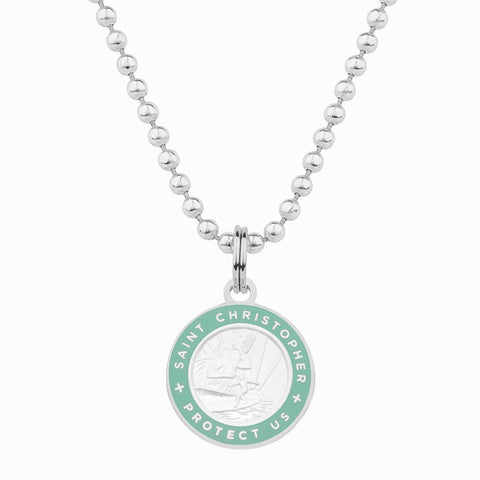 necklace for girlfriend / teal st christopher necklace