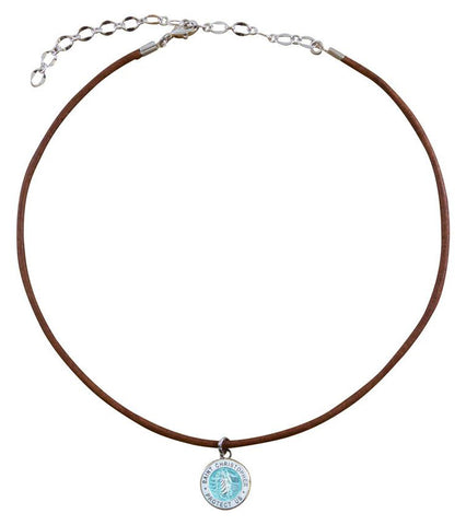 necklace for teen girls brown choker with aqua charm