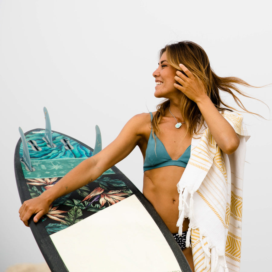 surf girl with surfboard