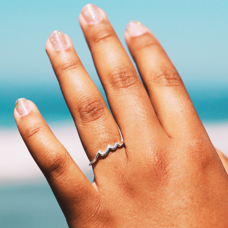 silver wave ring - surf girl style