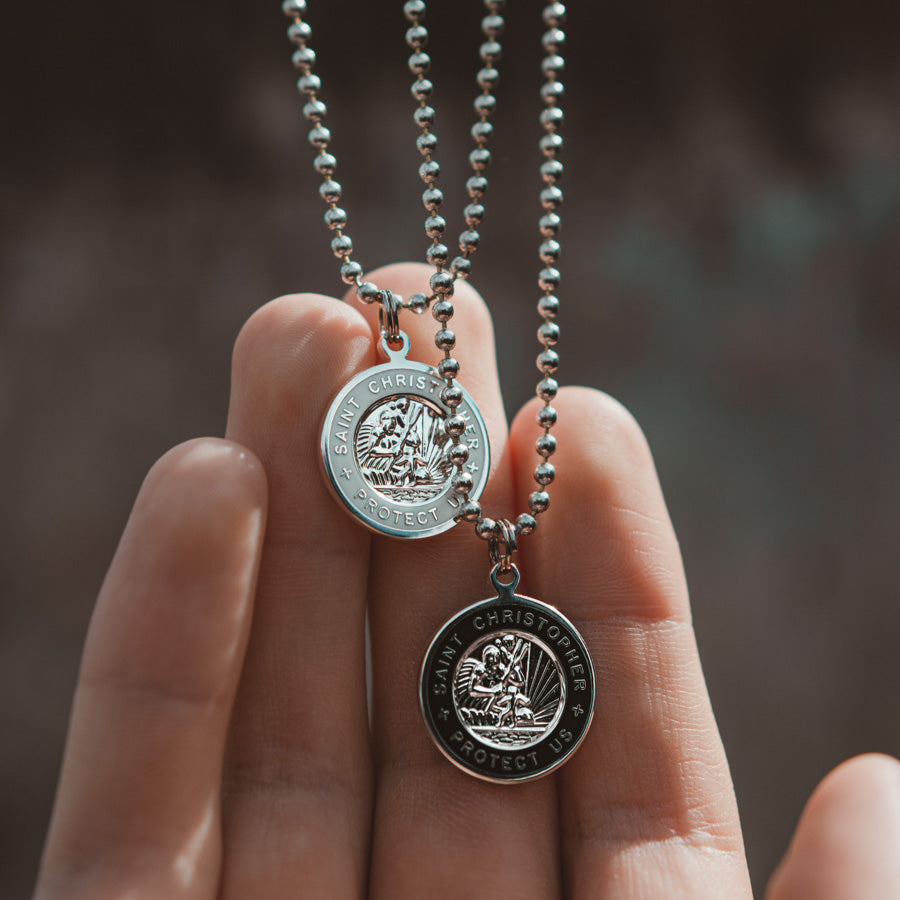 St. Christopher surfer necklace in black and white