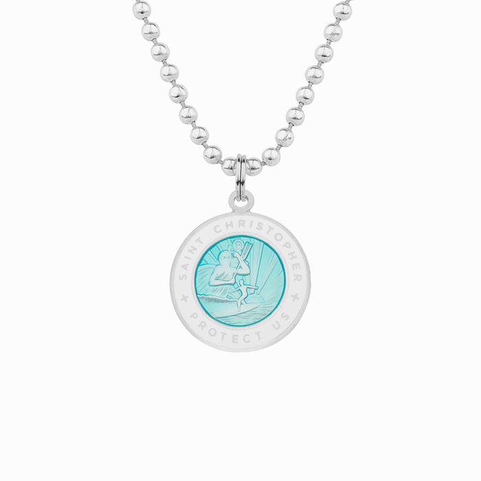 aqua and white st christopher necklace