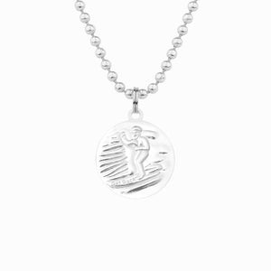 back of silver and white st christopher necklace