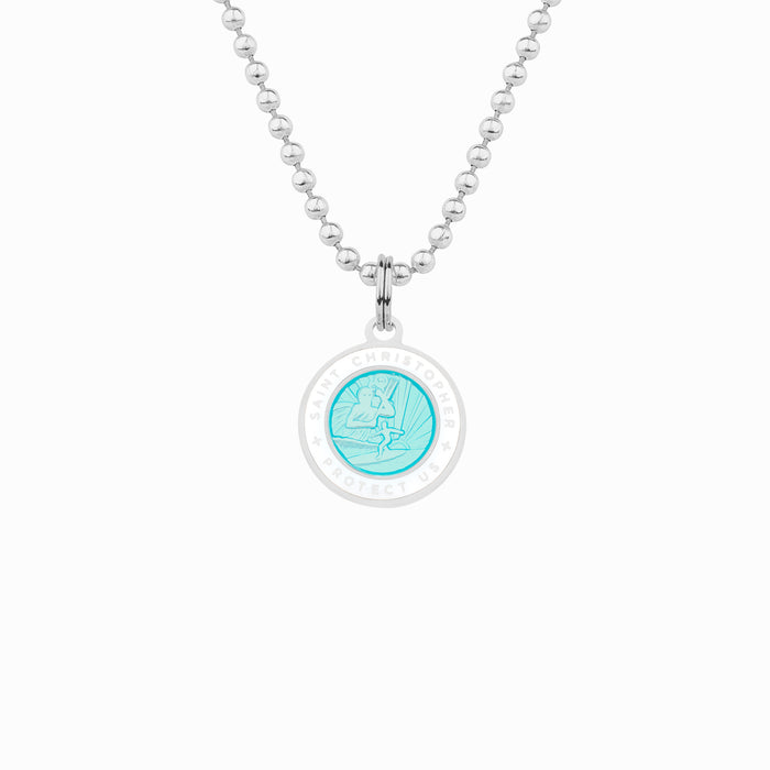 Aqua White St. Christopher Necklace