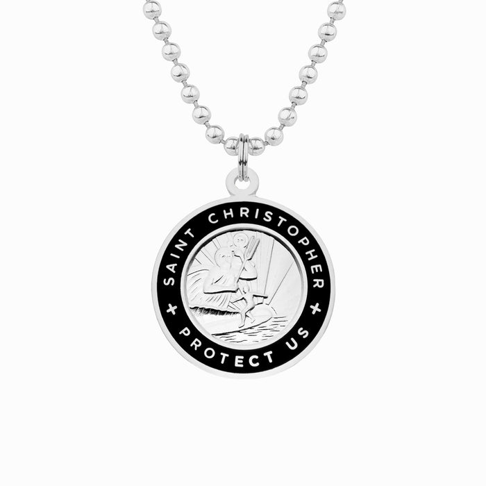 silver and black st christopher necklace