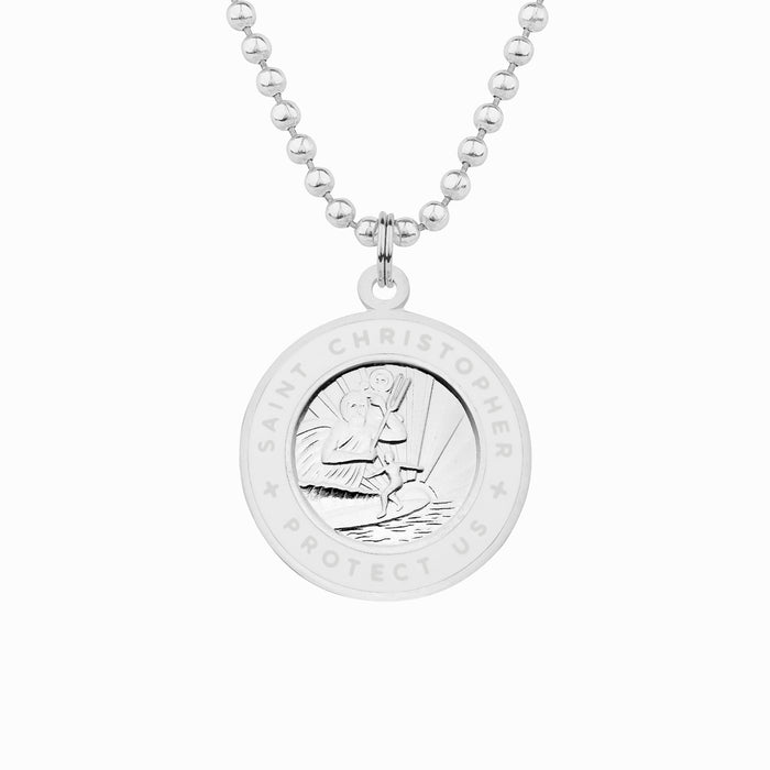 silver and white st christopher necklace
