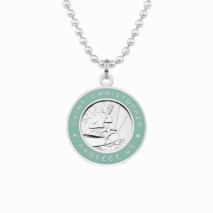 silver and teal st christopher necklace