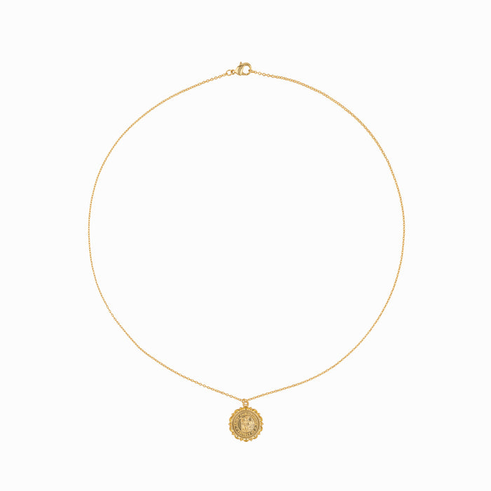 Gold Coin St. Christopher Necklace