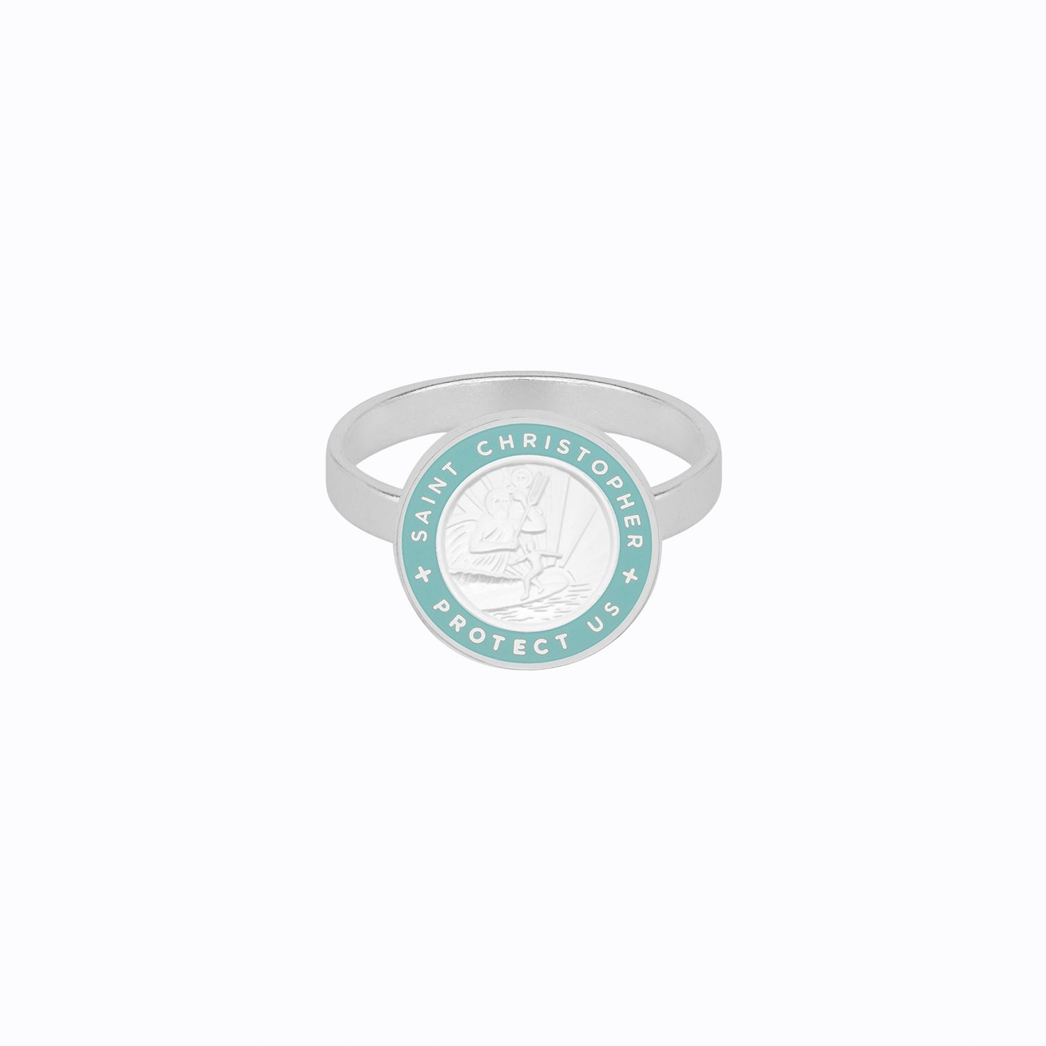 St. Christopher Ring Silver / Baby Blue