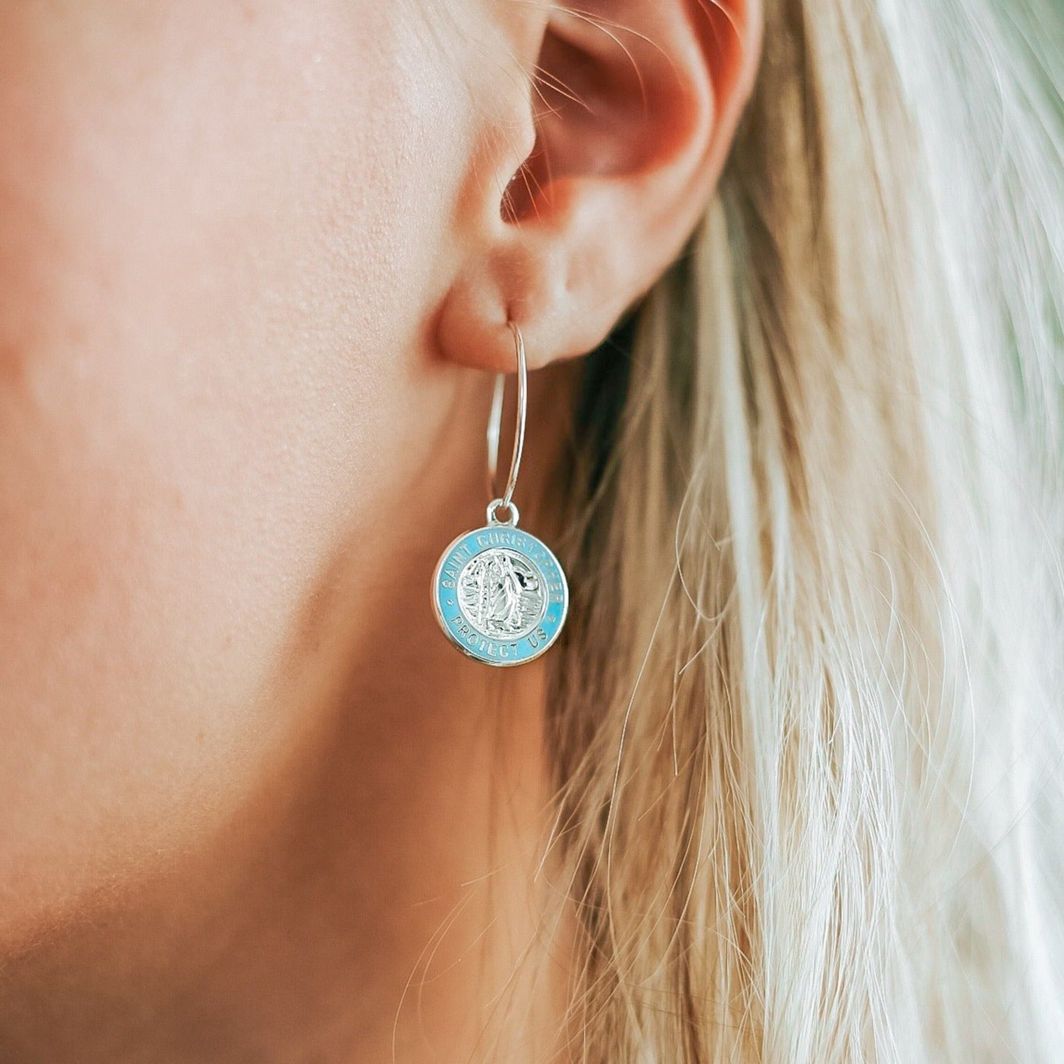 Hoop Earrings - Silver / Baby Blue 2
