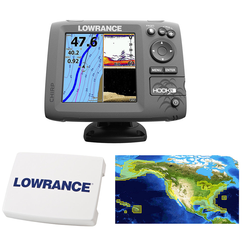 Lowrance HOOK-5 Combo w/83/200/455/800 HDI Transom Mount Transducer  Includes Cover & Nautic Insight Chart