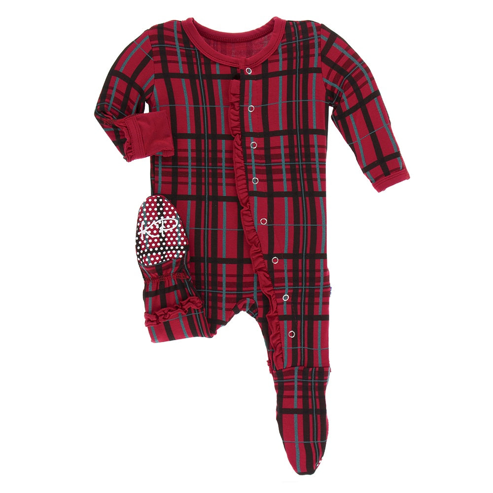Print Muffin Ruffle Footie with Snaps, Christmas Plaid (Pre-Sale)