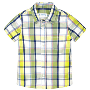Mayoral Short Sleeve Plaid Front Button Shirt, Lime
