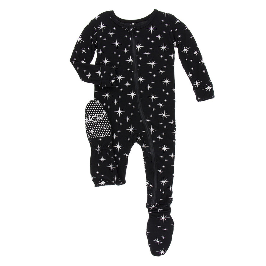 Print Footie with Zipper, Silver Bright Stars