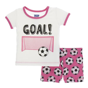 Kickee Pants Print Short Sleeve Pajama Set w. Shorts, Flamingo Soccer