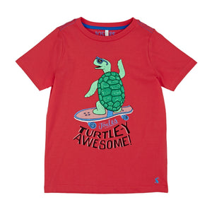 Joules Screen Print Jersey Tee, Red Turtle
