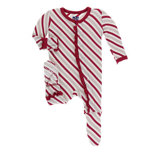 Print Muffin Ruffle Footie with Snaps, Rose Gold Candy Cane Stripe