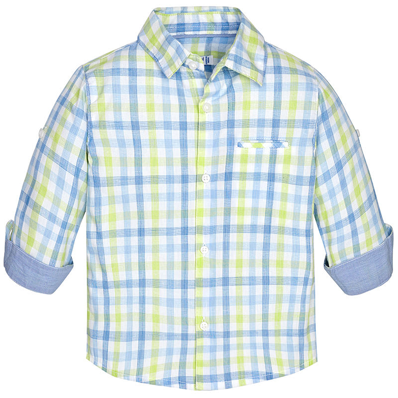 Mayoral Long Sleeve Plaid Shirt, Blue & Lime Green
