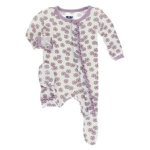 Print Muffin Ruffle Footie with Snaps, Natural Lantana